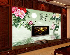家和万事兴牡丹电视背景墙装饰画 Oboi
