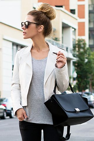 0c841b656 Cream Leather Jacket with gray underneath - I like! | Outfits for ...