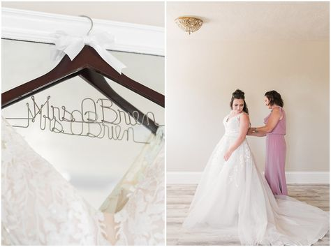 Mom doing up the back of bride's dress | Oak Hills Utah Dusty Rose and Gray Summer Wedding | Jessie and Dallin Photography #utahwedding #utahsummerwedding #summerwedding #mountainwedding #rockymountainwedding #blushandgraywedding #blushandgray #oakhillsutah #utahweddingvenue
