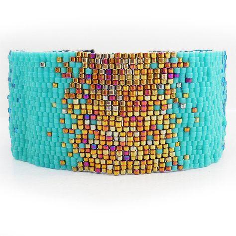 Bronze and Blue Ombre Glass Beads Bracelet  por dicopebisuteria