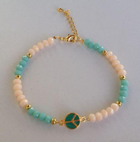 5c9cb551235f Crystal beaded peace bracelet pulseira de cristal da paz