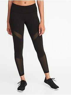 2e45b4b5d584 High-Rise Mesh-Trim 7/8-Length Compression Leggings for Women | Old Navy