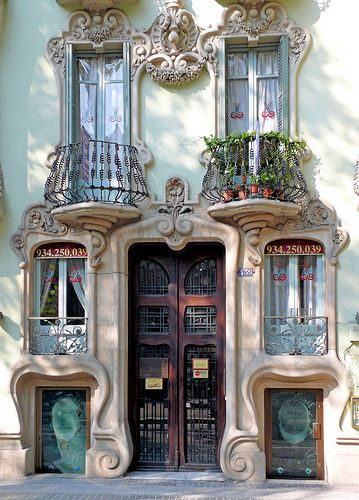 From Spain (perhaps Barcelona? Gorgeous stone facade with Art Nouveau swirls and a bit of Gaudi inspiration. MAISON de BALLARD: When One Door Closes. Beautiful Doors From Around the World Architecture Art Nouveau, Beautiful Architecture, Beautiful Buildings, Architecture Details, Beautiful Places, Barcelona Architecture, Spanish Architecture, Parisian Architecture, Stunningly Beautiful
