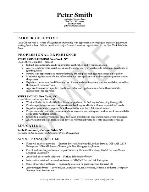 Loan Officer Job Resume Examples Resume Examples Professional Resume Samples