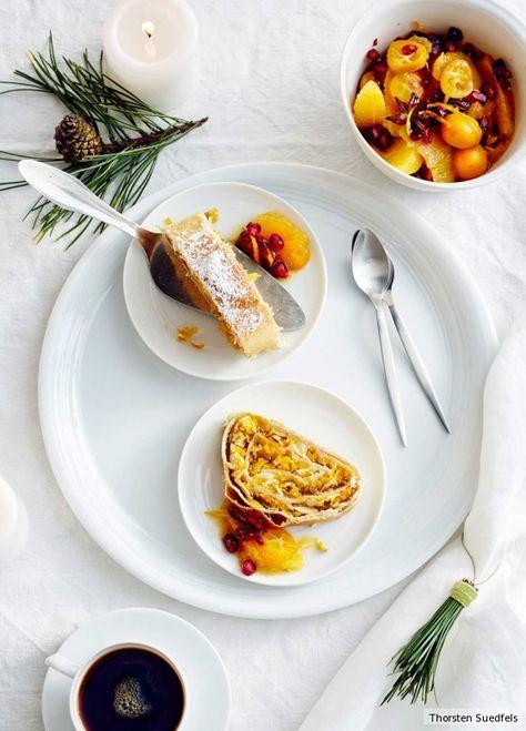 Kürbis-Apfel-Strudel mit Orangenkompott