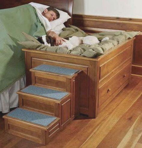 Bedside Platform Dog Bed 6417 With Images Dog Stairs For Bed