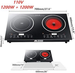 Cooktops Reviews Hyykj Double Induction Cooktop Cooker 2400w 110v D In 2020 Induction Cooktop Cooktop Infrared Heating