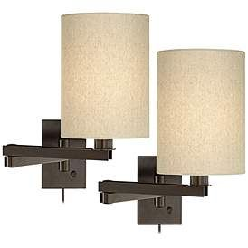 Set Of 2 Bronze Tan Cylinder Shade Swing Arm Wall Lamps Swing