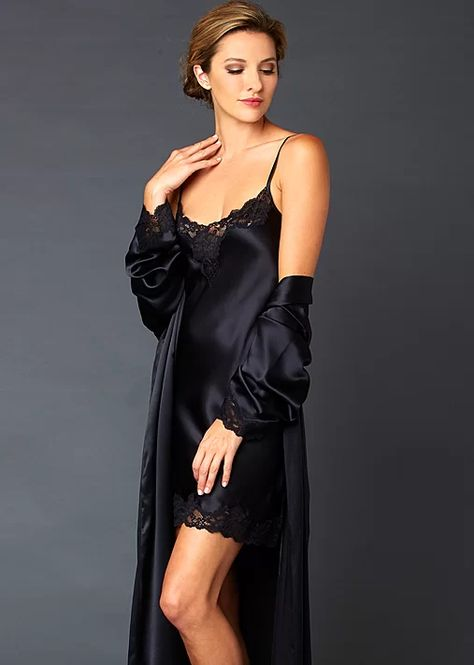 Here's a sweet indulgence -- without any calories! This elegant silk nightgown features a delicate lace neckline that cascades down luscious silk into you guessed it...a hemline dressed in even more beautiful lace. And what's best about this indulgence: it's cut on the bias to flatter your shape and take away any extra calories you might have indulged in today (sigh!). Of course there's a  matching robe (sold separately)for the perfect finish.