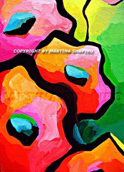 Artist Martina Shapiro - Abstract Red Girl On Green