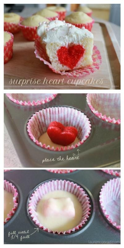 Tooth: Valentine's Day Cupcakes How to Make Valentine's Day Cupcakes {these are so cute with the little red hearts inside!}How to Make Valentine's Day Cupcakes {these are so cute with the little red hearts inside! Valentine Day Cupcakes, Heart Cupcakes, Valentines Day Food, Valentine Treats, Pink Cupcakes, Wedding Cupcakes, Valentines Recipes, Vanilla Cupcakes, Valentine Heart