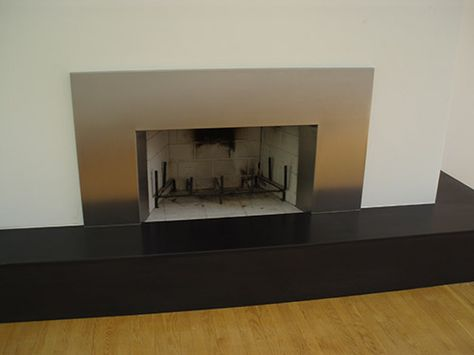 Custom Stainless Steel Fireplace Façade