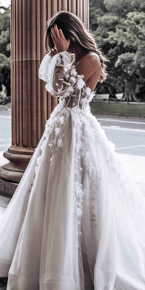 24 Awesome Ball Gown Wedding Dresses You Love ★ Ball Gown Wedding Dresses From ., 24 Awesome Ball Gown Wedding Dresses You Love ★ Ball Gown Wedding Dresses Off Shoulder Low Back Flower Appliques Leahdagloria Dre. Cute Wedding Dress, Country Wedding Dresses, Best Wedding Dresses, Lace Wedding, Wedding Day, Wedding Bride, Modest Wedding, Weeding Dresses, Wedding Dress Not White