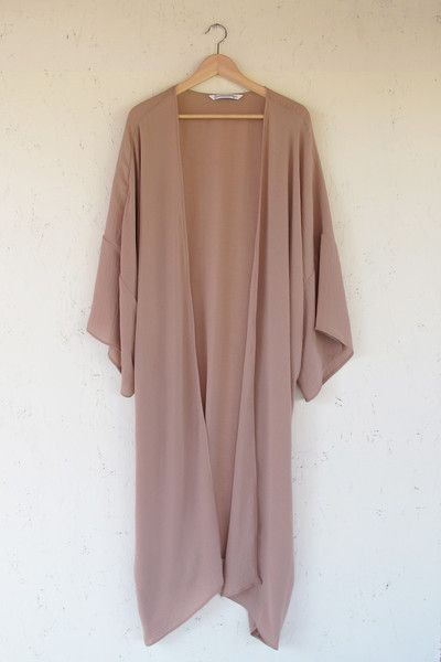 Modern Bohemian Long Sleeve Mauve Duster Kimono Cardigan ...