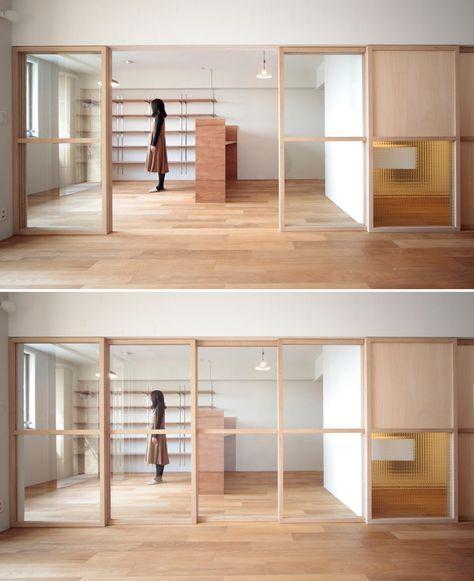 開けることで空間が一体となり閉めると繋がりながらも遮断される Photo