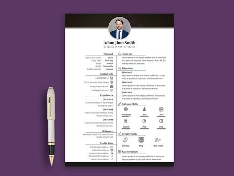Adom is free resume template with in PSD and INDD file format for