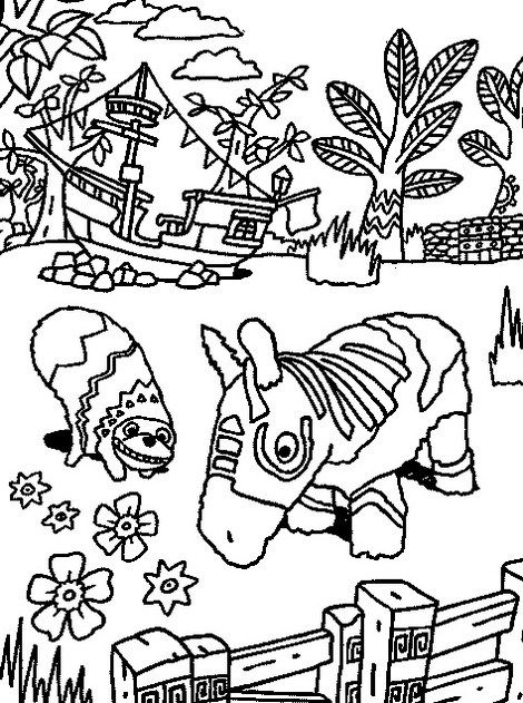 Intricate Viva Pinata Coloring Line Art Page Kids Coloring Books Cartoon Coloring Pages Coloring Pages