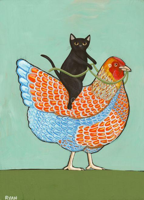 Black Cat and Blue Laced Wyandotte Chicken Original Cat Folk Art Acrylic Painting by KilkennyCat Art, $47.50 USD Copyright © Ryan Conners
