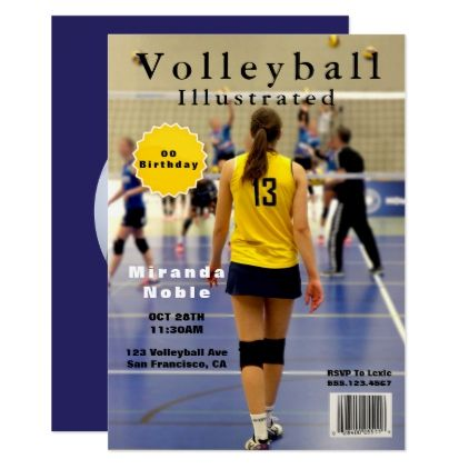 Volleyball Magazine Theme Party Add Photo Invitation Birthday Cards Invitations Party Diy Personalize Custom Photo Invitations Party Themes Invitations Party