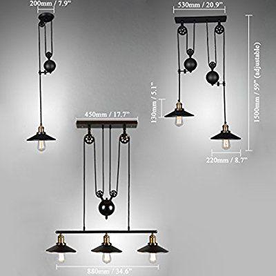Lovedima Tray Adjustable Height Pulldown Island Pendant Light
