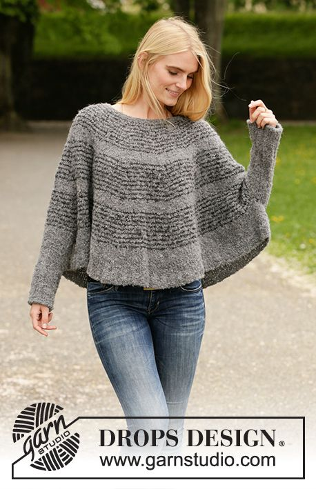 Knitted poncho sweater in DROPS Alpaca Bouclé. The piece is