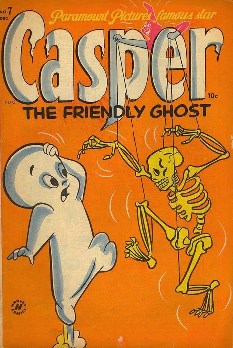 Casper the Friendly Ghost vintage Halloween comic book. Vintage Cartoons, Vintage Comic Books, Old Cartoons, Vintage Comics, Halloween Wallpaper Iphone, Fall Wallpaper, Retro Wallpaper, Orange Wallpaper, Bedroom Wall Collage