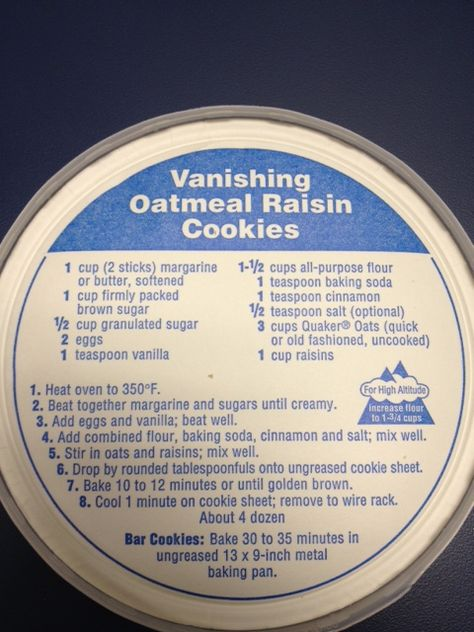 Quaker Oatmeal Cookie recipe which is included in the box lid.   For GF... Ground oats into flour and use same qty in place of all-purpose flour.