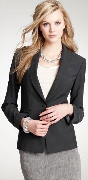 274fb3dc outfit post: grey pencil skirt, white cowl neck blouse, black suit jacket,  black pumps