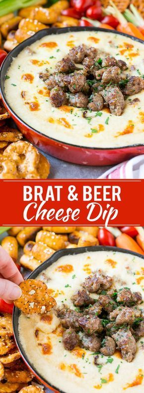 Wisconsin Brat & Beer Cheese Dip - creamy, cheesy, and loaded with bratwurst. It's a hearty appetizer that's perfect for game day entertaining! A little too salty, needs work. Cheese Dip Recipes, Beer Recipes, Cooking Recipes, Beer Cheese Dips, Game Day Recipes, Homebrew Recipes, Cheese Curds, Cheese Soup, Recipes With Bratwurst