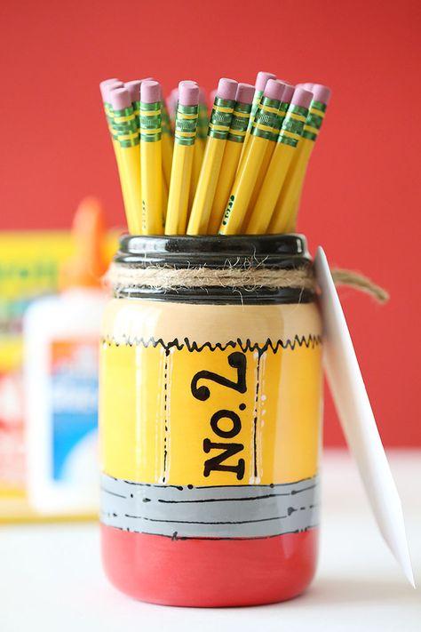 Craft: Back to School Pencil Mason Jar Teacher Gift - See Vanessa Craft