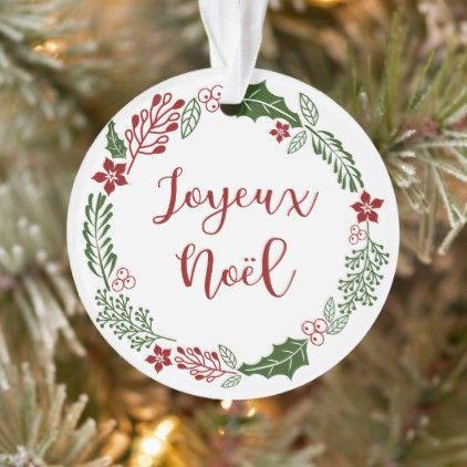 French Merry Christmas Wreath Joyeux Noel Ornament Zazzle Com Merry Christmas In French Merry Christmas Custom Holiday Card