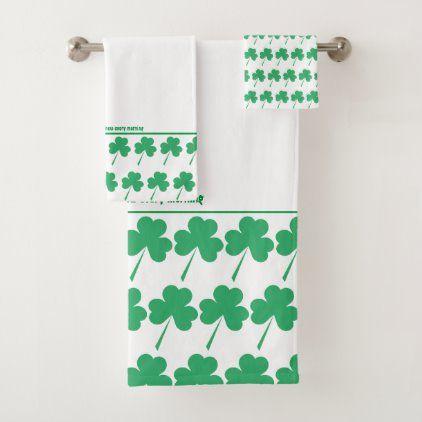 Shamrock St Patrick Personalized Scripture White Bath Towel Set