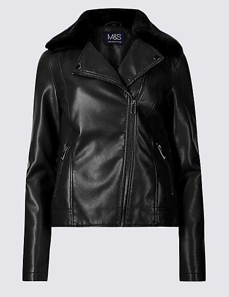 Faux Leather Biker Jacket M S Collection M S Faux Leather Biker Jacket Biker Jacket Jackets
