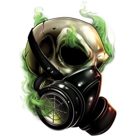 034-Best-Of-Skulls-034-Temporary-Tattoo-Skull-in-Gas-Mask-Made-in-USA