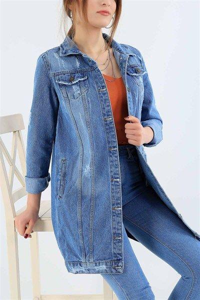 64 95 Tl Mavi Bayan Uzun Kot Ceket 29005b Modamizbir 2020 Kot Ceket Moda Stilleri Mankenler