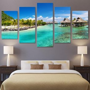 Art Wall Canvas Print Painting Blue Seascape Beach Landscape Bedroom Home Decor