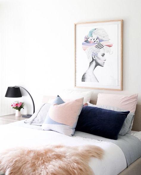 Navy + pastels for a feminine bedroom | @andwhatelse