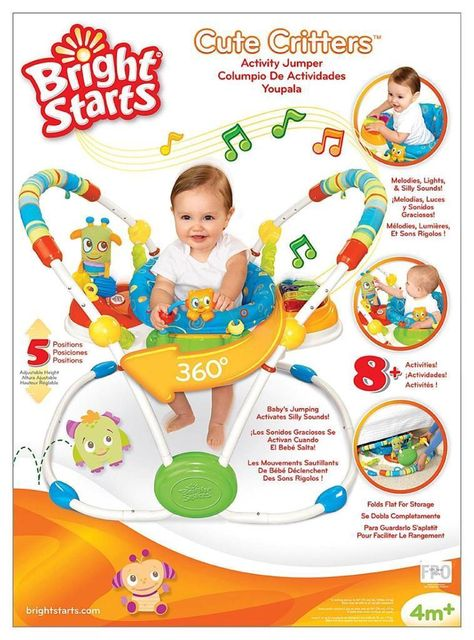 4fc6d1c80f90 Details about AWESOME Bright STARTS Cute CRITTERS Activity JUMPER ...