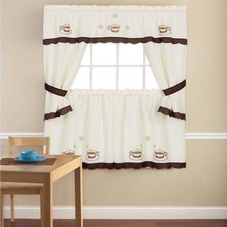 Embroidered Cuppa Joe 5 Piece Kitchen Curtain Cottage Set 24 Inch