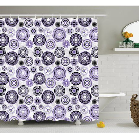 Purple And Black Shower Curtain Scattered Round Figures Big And