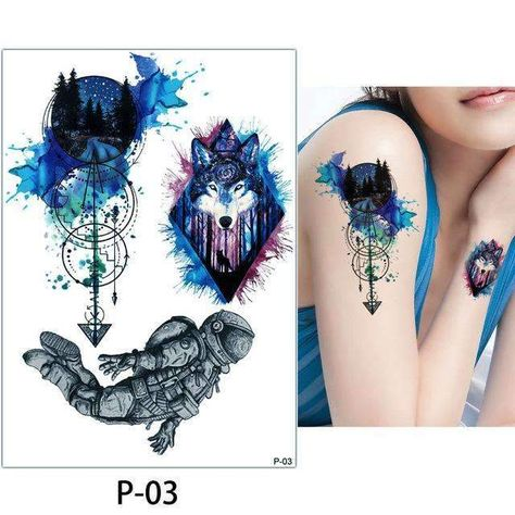 86f7aa498 1x DIY Body Art Temporary Tattoo Colorful Animals Watercolor Painting  Drawing Horse Butterfly Decal Waterproof Tattoos Sticker
