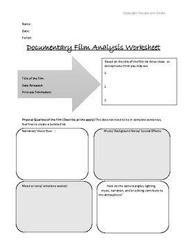 Film Analysis Worksheet   worksheet