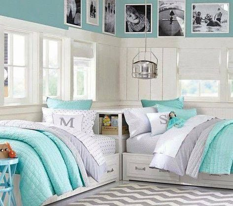 Shared Corner Beds With Storage Twin Girl Bedrooms Girl Room