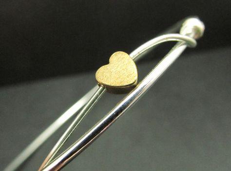 Tiny Heart Bangles Bracelets Sterling Silver by 4Everinstyle, $38.00