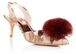 Pom-Pom Kitten-Heel Pumps Shoes