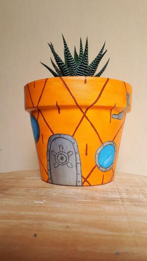 Diy Crafts Hacks, Cute Crafts, Crafts To Do, Arts And Crafts, Diys, Painted Plant Pots, Painted Flower Pots, Flower Pot Design, Cute Bedroom Decor
