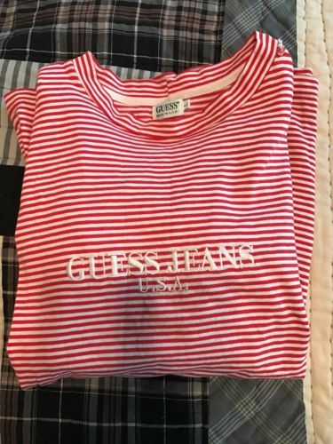 11aa7daefe5b Vintage GUESS JEANS USA Striped Long Sleeve T-Shirt #rare Large 90s  Original Tee