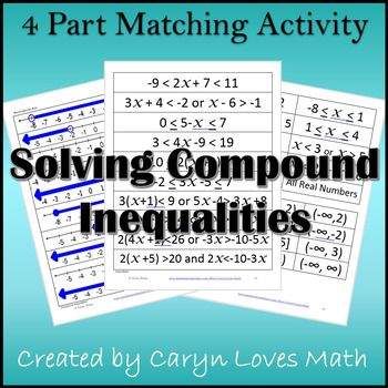 Compound Inequalities Interval Notation Matching Activity Compound Inequalities Compound Inequalities Activities Inequalities Activities