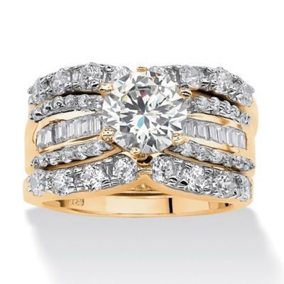 Yellow Gold Wedding Ring Sets Cubic Zirconia