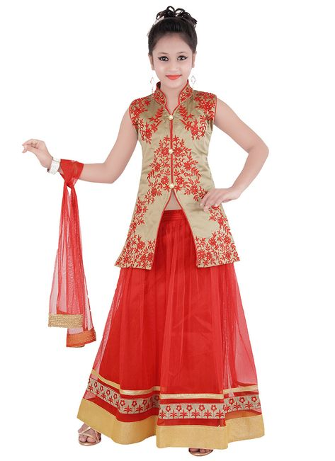 Buy Red Kids Lehenga Choli online from the wide collection of girls-lehenga.  This Red colored girls-lehenga in Net | Art Silk fabric goes well with any occasion. Shop online Designer girls-lehenga from cbazaar at the lowest price.